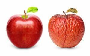 Appel uitgedroogd zoals droge huid